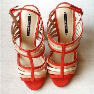 Zara orange high heel sandal